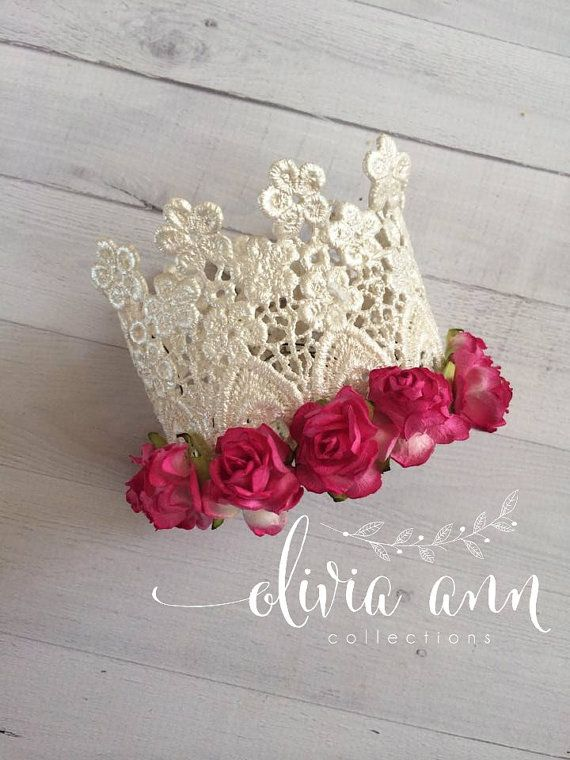 Mini Bella crown with FLOWERSheadband by Oliviaanncollections, $14.00