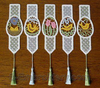 SKU 10536 Easter egg Battenberg lace bookmarks set