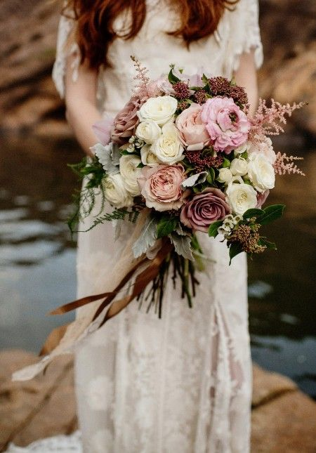 blush toned bouquet with roses and astilbe