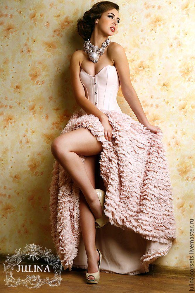 """Купить Корсет """"Клубника со сливками"""" шелковый - бледно-розовый, корсет, корсет утягивающий"""