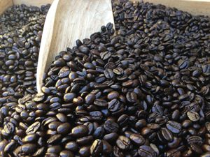 oily freshly roasted coffee beans