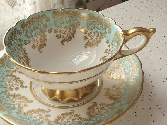 vintage bone china tea cup and saucer, Royal Stafford English tea set, blue and gold tea cup set