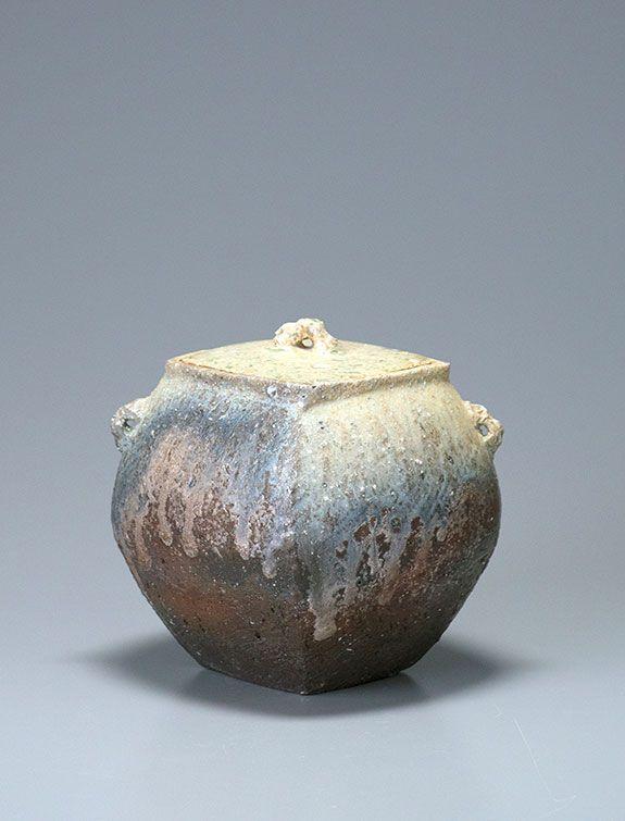 "Ken Matsuzaki, Water Container, yohen natural ash glaze, stoneware, 8 x 7.5 x 7.5"""