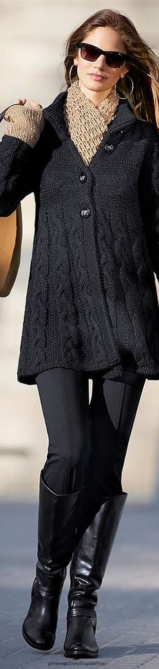 ❄KNIT One PURL One❄ *Cardigan in the colors black, grey melange - grey - MADELEINE