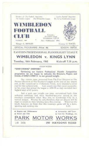 Away to Wimbledon FC   16/02/65    Eastern Professional Football League