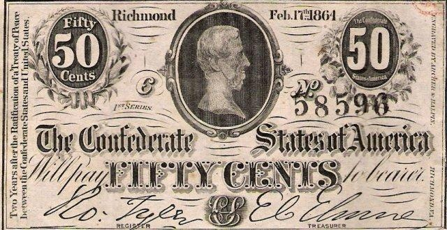 Confederate Fifty Cent paper ~ London Coin