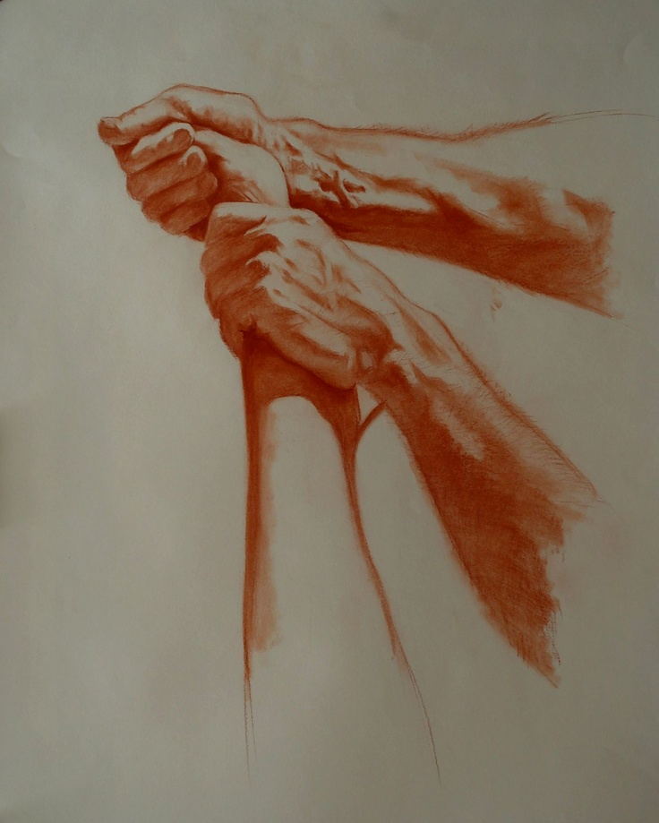 Foot Massage. Conte crayon on paper. 18X20 by William Webster.