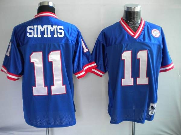 Mitchell and Ness New York Giants 11 Phil Simms Stitched Blue NFL Jersey:$21