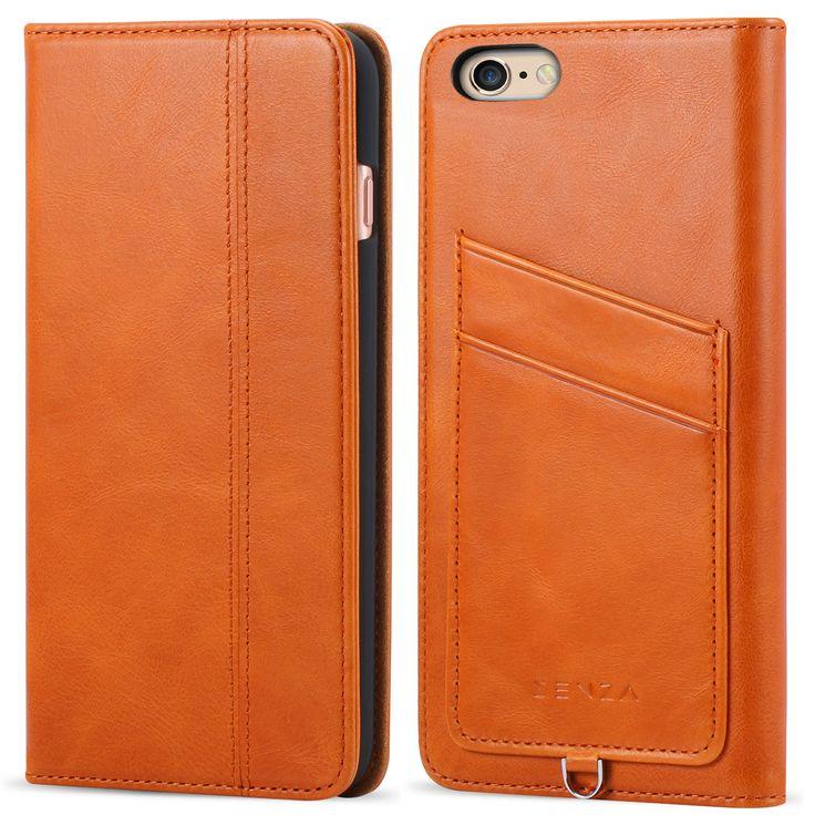 CaseFamily iPhone 6s Plus/6 Plus レザーケース アップル携帯ケース (硬度 9H 液晶保護 強化 ガラスフィルム) 高級牛革 手帳型ケース マグネット式 収納ホルダー 6s Plus/6 Plus 5.5インチ 【ブラウン】