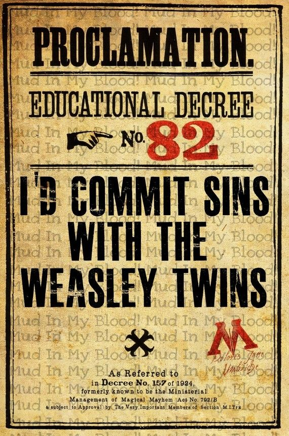 "Harry Potter Poster, ""I'd commit sins with the Weasley twins"""