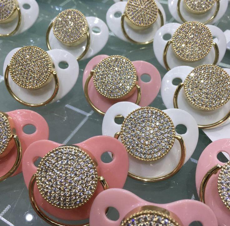 Chic Swarovski Crystal Round & Gold Pacifier