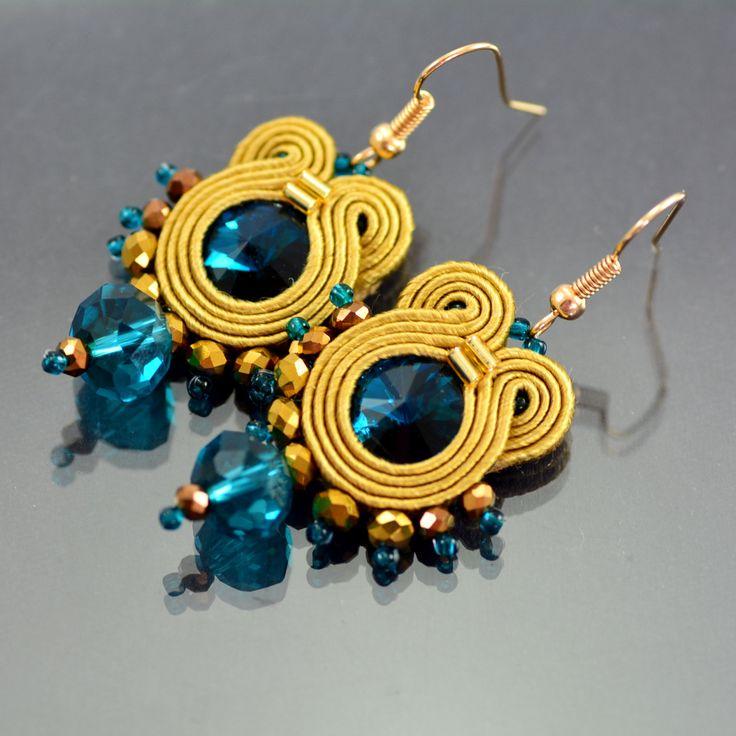 Soutache Earrings - Small Blue Gold Dangle Soutache Earrings - Blue Soutache Earrings - Soutache Jewelry - Blue Crystal Earrings - OOAK by OzdobyZiemi on Etsy