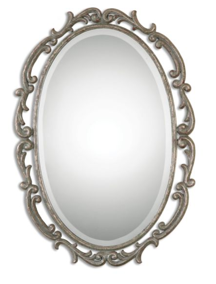 Antiqued Silver Leaf Wood Mirror with Aged Grey Glaze    Click here to purchase: http://www.houzz.com/photos/21965905/lid=10707734/Antiqued-Silver-Leaf-Wood-Mirror-with-Aged-Grey-Glaze-midcentury-mirrors