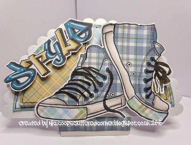 Crafty Urchins: Presscut Scalloped half circle die, Woodware Sneakers & Graffiti words.