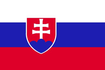 The Slovakia flag was officially adopted on September 1, 1992.           Red, white and blue are traditional Pan-Slavic colors. The centered Slovakian arms features a dominant white cross atop a blue symbolic reference to the country's mountains.