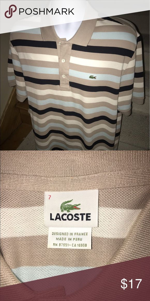 New - Lacoste Gator striped men's golf polo shirt Stunning men's Lacoste Gator striped casual golf polo shirt that is sized 7 (XL). New condition - maybe worn once.  Lightweight and stylish - you will love it. Lacoste Shirts Polos