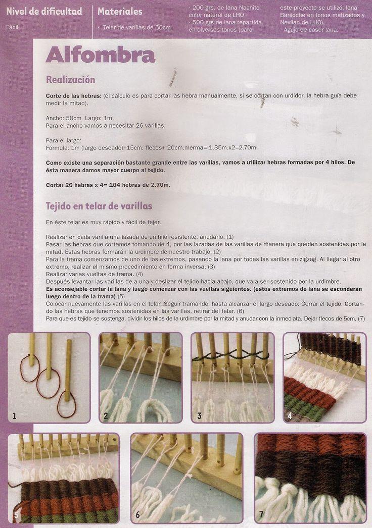 COMO TEJER EN TELAR DE VARILLAS             tejido ideal para hacer pequeñas alfombras, bajadas de cama         Para tejer en este te...