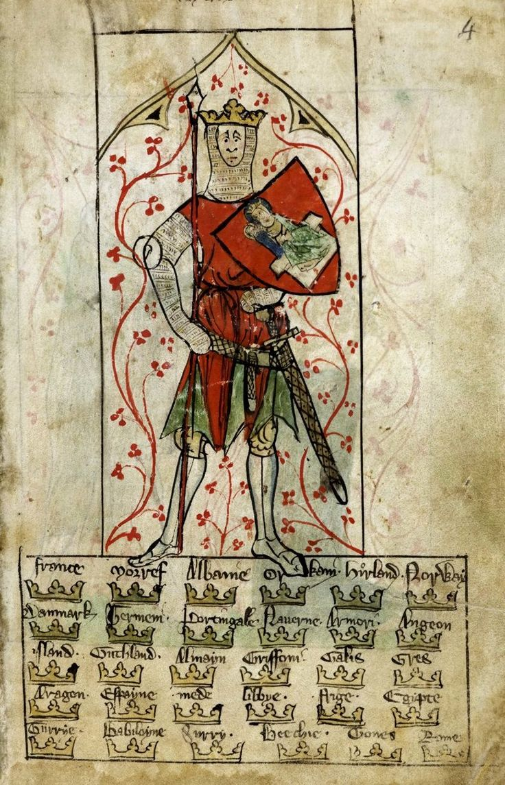 Miniature of king Arthur, holding a spear and a shield emblazoned with the Virgin and Child.