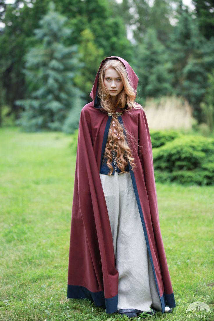 "Cotton Cloak ""Secret Garden"" in Burgundy"