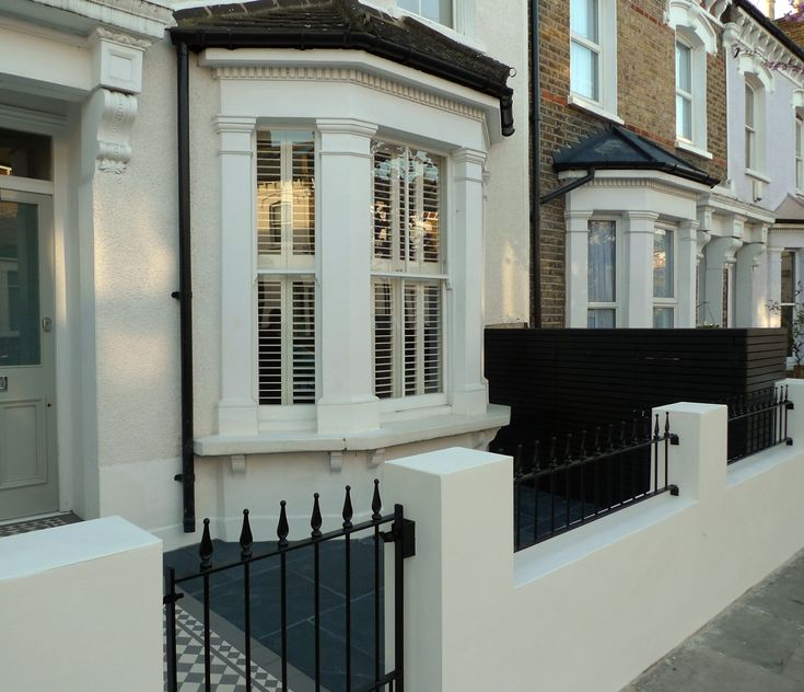 front metal gate and rail with new garden wall dulwich mosaic slate paving bin bike store