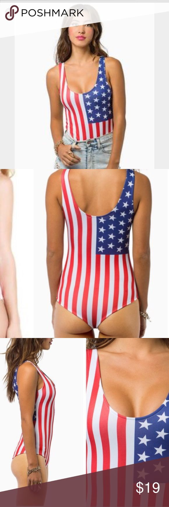 American Flag Bodysuit! Coachella Festival Wear! This bodysuit is printed with the American flag on it. It's super festive and fun! It has minor fuzzing in the booty part from sitting on the ground at a festival, but that part gets covered anyway, and is in otherwise great condition. Only worn once. It's not really a bathing suit, I just didn't know what else to categorize it as. Tobi Swim One Pieces