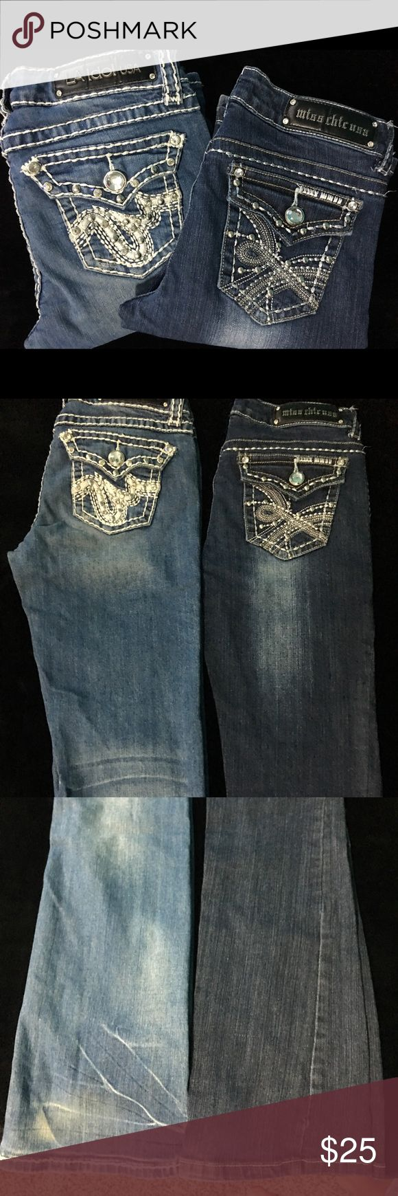 "LA Idol and Miss Chic Jean Bundle Great condition Jeans some signs of wear both pairs of jeans have all the rhinestones the LA Idol jeans are size 7 and length is 34"" has some discoloration on bottom of pant legs but no wear marks and the Miss Chic jeans are size 7 inseam is 32"" some wear on the bottom or one pant leg but not much  I would like to sell as a bundle for $25 obo but will sell separately just let me know all reasonable offers will be considered Jeans Straight Leg"