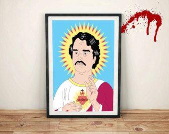 Pablo Escobar Saint Narcos Netflix Show TV Replica Prop Poster Print Drug Lord Medellin Colombia #Narcos #Netflix #SaintPablo #PabloEscobar #Giftideas