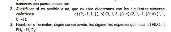 Ejercicio 2, propuesta 1, JUNIO 1997. Examen PAU de Química de Canarias. Temas: estructura atómica.