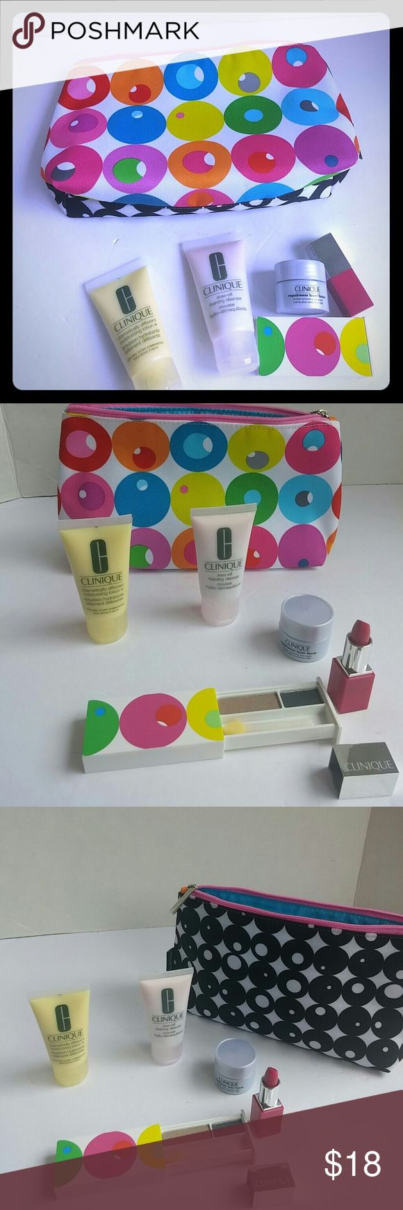 Clinique Make-up Bag Bundle Includes samples of skin care and cosmetics from Clinique. Make-up bag has a different design in each side. All products new and unused! Clinique Makeup