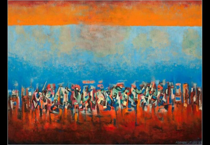 Title unknown (March on Washington), 1965, oil on fiberboard, 351/4 × 471/2 in., L. Ann and Jonathan P. Binstock, © Estate of Norman W. Lewis; Courtesy of Michael Rosenfeld Gallery, LLC, New York, NY