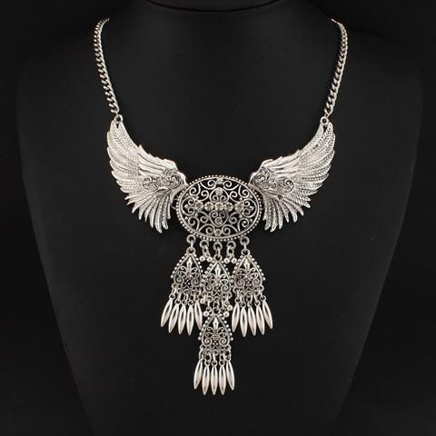 Vintage Angel Wing Pendant Necklace with Rhinestones