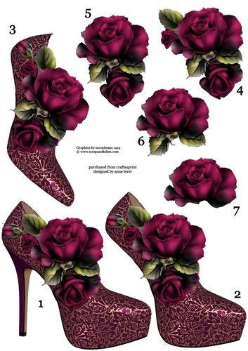 This A4 sheet contains a shoe and rose topper, with six extra decoupage layers…