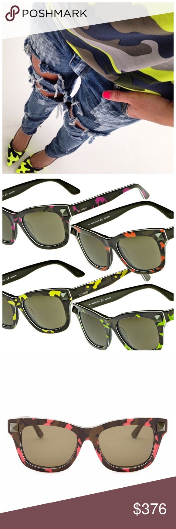 "Sale! Valentino Rockstud Camo Wayfarers [fushia] Valentino Rockstud Camo Wayfarer Sunglasses from Spring Summer 2014 collection. Anyone currently selling these ""retail"" must shop in a Velorian. Deets: Signature Rockstud accents and cool camo patterning elevate retro-chic Italian sunglasses finished with logo inlays at the temples. Measurements: 53-18-140mm (eye-bridge-temple). Frame Color: Camo with Studs: Fuchsia. Lens Color: Green. Frame Material: Acetate. Lens Type: Plastic Submit an…"