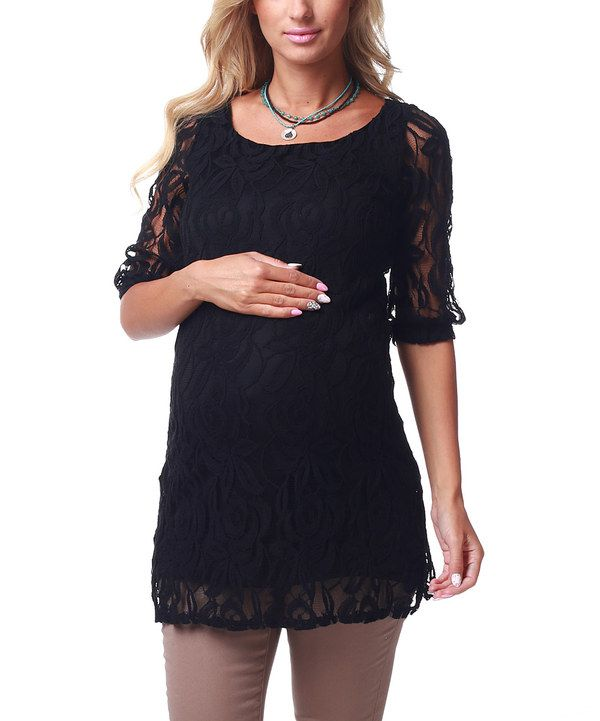 Take a look at this PinkBlush Maternity Black Lace Three-Quarter Sleeve Maternity Tunic on zulily today!
