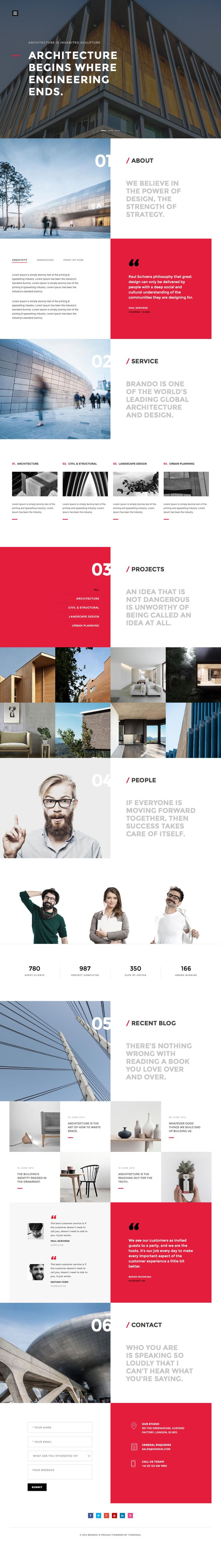 """Brando' is a new One Page HTML template with 8 pre-made layouts, covering multiple industries. The design is definitely above par for a template and my favorite being the super slick Architecture layout option featured here. The additional layouts include digital agency, personal page, spa, photography, wedding, restaurant, travel and a launching soon page. It's actually inspiring what ThemeZaa have done here in the template game - all for only $17."