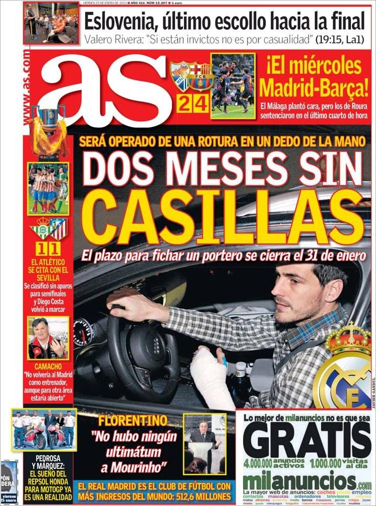 Los Titulares y Portadas de Noticias Destacadas Españolas del 25 de Enero de 2013 del Diario Deportivo AS ¿Que le parecio esta Portada de este Diario Español?
