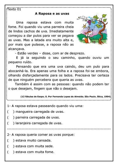 Espaço Professor: Texto a raposa e as uvas com atividades - leitura e compreensão de textos