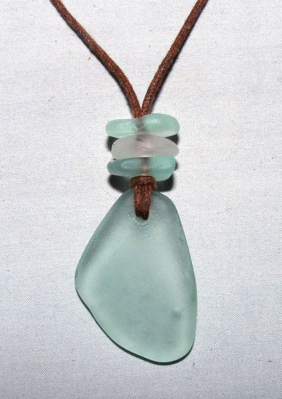 Sea Beach Glass Necklace Seafoam & Clear by beadsofthesea on Etsy, $20.00