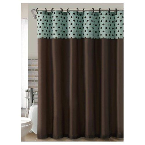 Good Brown Teal Flocked Polka Dots Fabric Shower Curtain