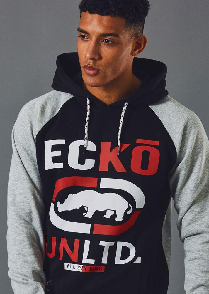 Ecko UNLTD Mens Arch Rhino Pull Over Applique Hooded Fleece