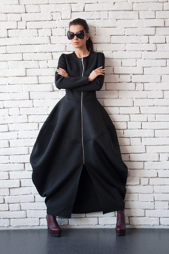 Black Neoprene Dress/Extravagant Long от Metamorphoza на Etsy