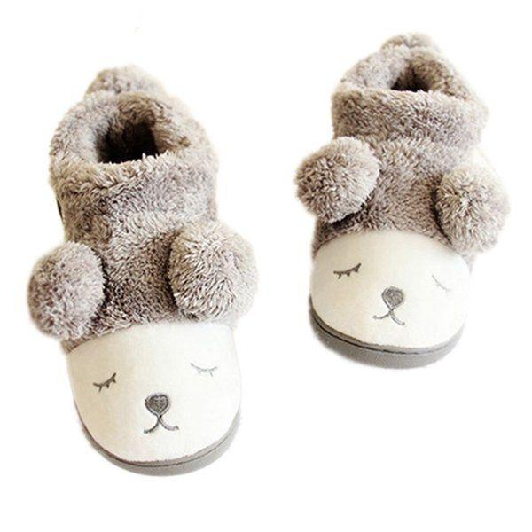 MiYang Women's Warm Plush Soft Sole Indoor Slipper Grey(High Top) 4 B(