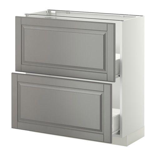 METOD / FÖRVARA Skrinka + 2 zásuvky - biela, Bodbyn šedá, 80x37 cm - IKEA