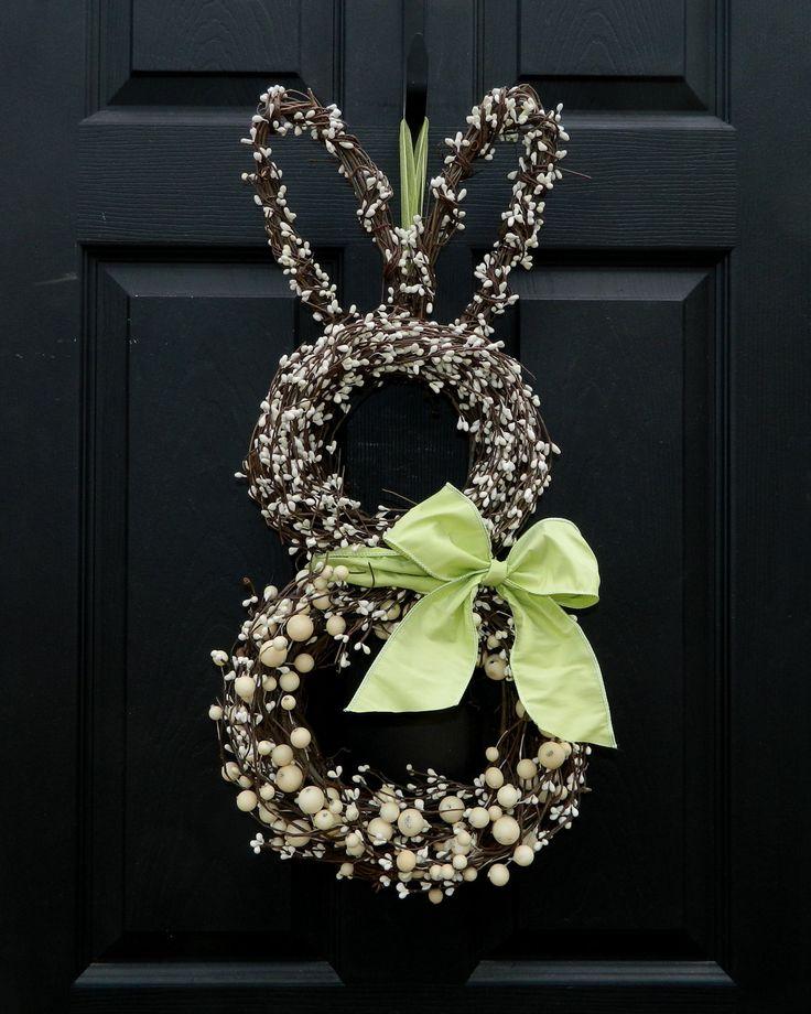 Easter Wreath - Bunny Wreath - Spring Wreath  - Easter Decoration. $65.00, via Etsy.