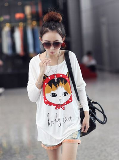 Korean style fashion cute cat printing T-shirt