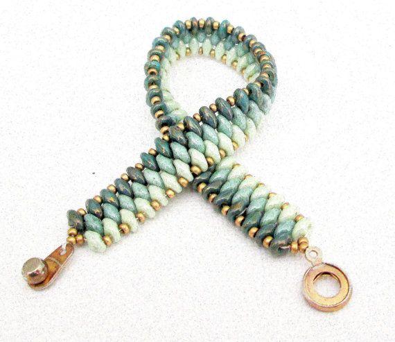 jade superduo beaded bracelet ombre bracelet czech by beadnurse