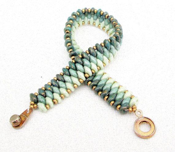 Jade superduo beaded bracelet ombre bracelet czech mate bracelet jade bracelet…