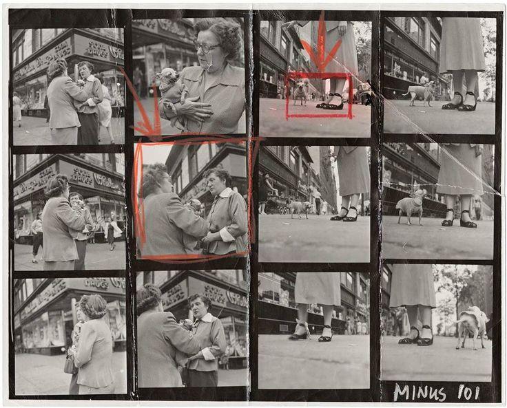 """Planche-contact du photographe Elliott Erwitt de l'agence Magnum. En 2011 sortait le remarquable ouvrage """"Magnum, planches-contacts"""" aux éditions La Martinière. Voici ici quelques planches-contacts issues de ce livre et provenant de célèbres photographes de cette agence iconique. Très intéressant pour comprendre le travail du photographe, son approche sur le terrain et comment il en vient à choisir une photo plutôt qu'une autre."""