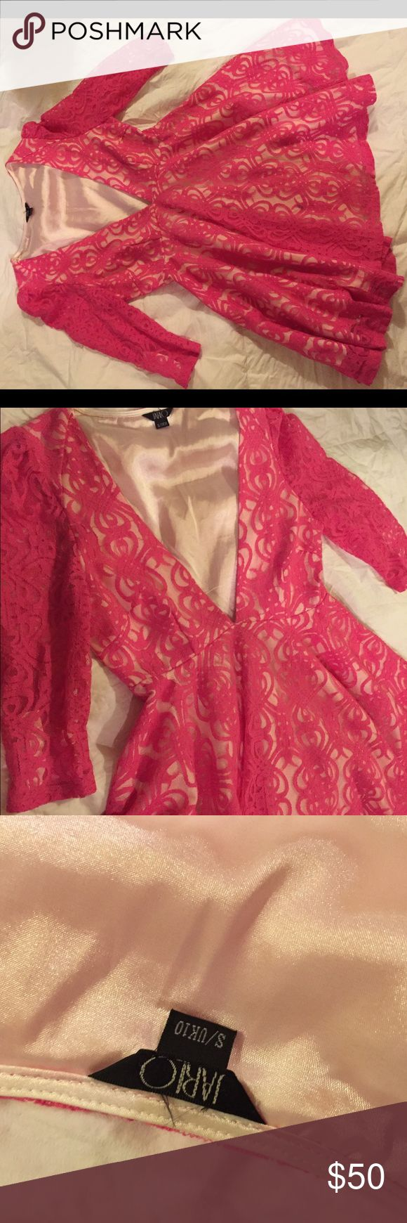 Pink lace plunge neck dress by JARLO Pink lace plunging neckline, ordered from revolve clothing, only worn once, excellent condition, size S jarlo Dresses Mini