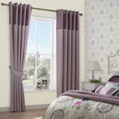 These Arcadia Eyelet Lined Faux Silk Curtains in Pink have a elegant velvet header #ParisSouvenirs #Bedroom